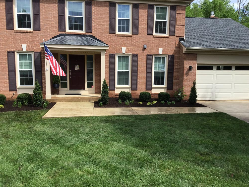 Green grass from lawn care treatments