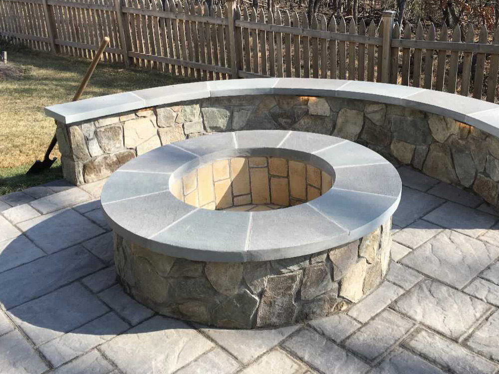 Fire pit on patio hardscaping