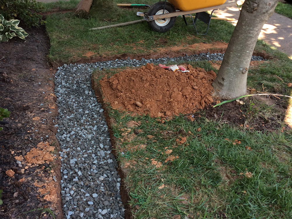 French drain installation in progress