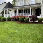 Mowing a green lawn with garden beds
