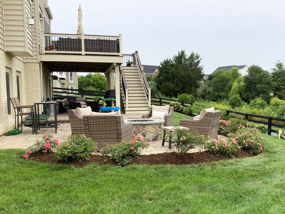 Patio clean up and mulch with rose bushes