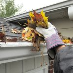 Roof sweeping and hand cleaning gutters